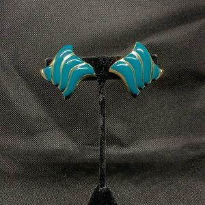 Vintage Avon teal clip on earrings